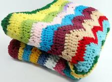 Handmade Chevron Crocheted Afghan Throw Blanket Red Blue Yellow 42 x 41