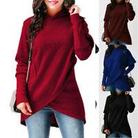Dress Sleeve Sweater Hoodies  Jumper Womens Hooded Long Pullover Tops Sweatshirt