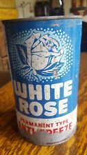 VINTAGE ADVERTISING WHITE ROSE Motor Oil QUART ANTI-FREEZE sign tin canadian can