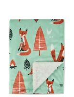 Boritar Fox Baby Blanket -Soft Minky with Double Layer Toddler Bed 30x40 Green