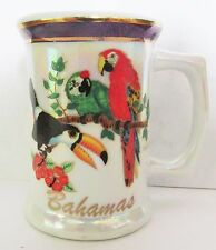 BAHAMAS,  BEAUTIFUL BIRDS, MOTHER OF PEARL STEIN SHORT GLASS