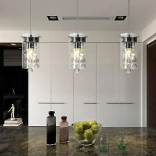 Loclgpm Modern Crystal Pendant Light, 3 Pack Metal Ceiling Lamp, Chrome Finish