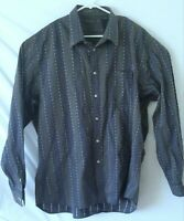 Island Soft Tommy Bahama Men's Long Sleeve Dress Shirt 2XL Blue Gray Striped