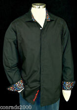 "Robert Graham ""Blackpool"" NWT 298 Black Detailed Embroidered Sports Shirt Medium"