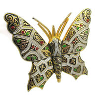 Butterfly Pin Faux Damascene from Spain Retro Vtg Gold Tone Green Red Gift