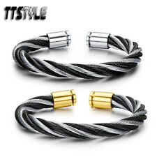 Mens TTstyle 316L Silver/Black Stainless Steel Cuff Bangle NEW Arrival