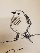 "JOSE TRUJILLO Original Charcoal Paper Sketch Drawing 12"" Bird Modern Minimalism"
