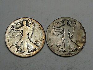 2 Better Date Silver Walking LIBERTY Half Dollars: 1917 & 1927-s.  #42