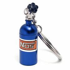 NOS Nitrous Oxide Bottle Keychain Storage Keyring Metal Turbo Mini Blue