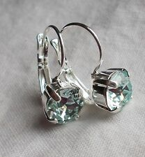 Leverback Earrings Handmade w/Swarovski Crystals 8mm Cup Chain Lt Azore~Silver