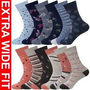 Womens Socks Extra Wide Fit Diabetic Ladies Cotton Rich Loose Top Sock UK 4-7
