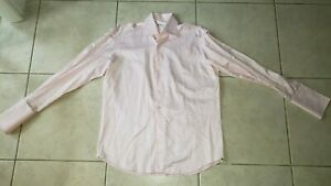 Domenico Vacca Made in Italy Peach Striped French Cuff Shirt 17/43