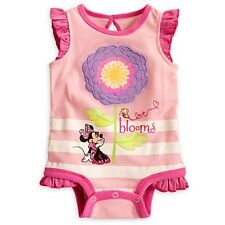 "DISNEY STORE MINNIE MOUSE CUDDLY BODYSUIT BABY 3/6 MOS NWT ""LOVE BLOOMS"""