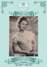 Vintage 1940s knitting pattern- delicate pretty lace stitch blouse-free UK post