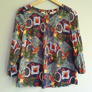 White Stuff Womens Size 12 Multi-coloured Cat Plant Pot Print Blouse Top Casual