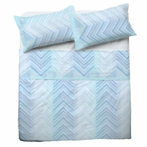 Set Bed Pompea Zigzag Sheets Above Under with Corners And Pillowcase Blue
