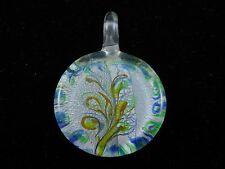 "Beautiful Murano Glass Silver Foil Lampwork Handmade Round Pendant 1.3/4""Inche"