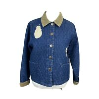 HAIKS Women Vintage Quilted Denim Barn Jacket Medium Christmas Corduroy Pockets