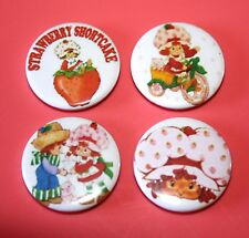 SET OF 4 VINTAGE LOOK STRAWBERRY SHORTCAKE BUTTON PIN BADGES
