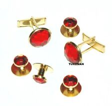 NEW RED Gold Tuxedo Cuff links Studs Tux Cuff Links French Cuffs  TUXXMAN