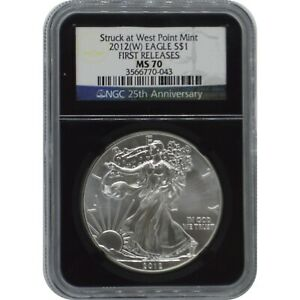 2012 (w) American Silver Eagle NGC MS70 First Releases 25th Anniversary Label