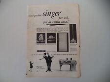 advertising Pubblicità 1961 SINGER MACCHINA PER CUCIRE 401/FRIGORIFERO/URAGAN