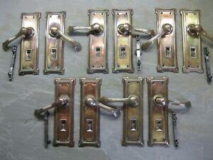 5 Pairs Original Reclaimed 1931 Art Deco Brass Copper Plate lever Handles 0144
