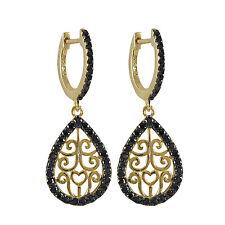 Womens Sterling Silver Cubic Zirconia Filigree Teardrop Dangle Earrings