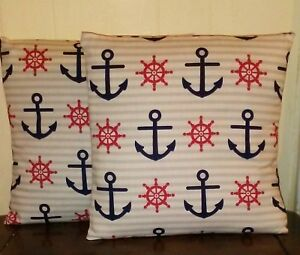 Navy blue anchor Decorative pillow case covers with grey and white stripes