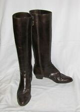 Salvatore Ferragamo Dark Brown Leather w/Logo Buckle Low-Heel Knee-High Boot 9N