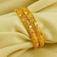 Goldplated Traditional Bangle Kangan Set Women 2pc 18K Wedding Bracelets Jewelry