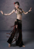 New! W025 Tribal Vintage Belly Dance Costume Outfit Set Bra Belt Carnival 2 PCS