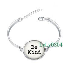 Be Kind glass cabochon Tibet silver bangle bracelets wholesale
