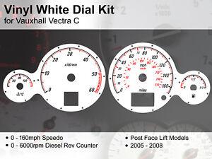 Vauxhall Vectra C (2005 - 2008)FaceLft - 160mph / 6000rpm - Vinyl White Dial Kit