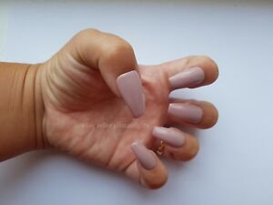 24 Hand Painted Gel False Nails - Nude Pink - Coffin, Stiletto, Square, Oval