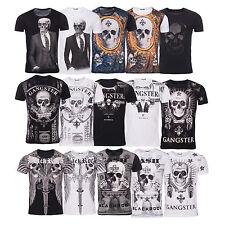 BLACKROCK Herren T Shirt SKULL Totenkopf Vintage Party Bling Bling Slim Fit Neu