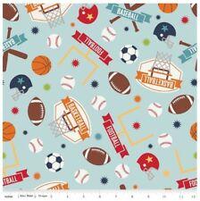 Sports Fabric - Game Day Basketball Baseball Football Toss Blue Riley Blake YARD