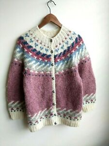 VTG LL Bean Hilda Nordic Northern isles knit sweater button Made in Iceland M