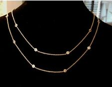 "DOUBLE STRAND YELLOW GOLD PLATED 3 CARAT TW 16"" TO 18"" CZ BY THE YARD NECKLACE"