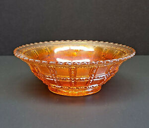 "BEAUTIFUL VINTAGE IMPERIAL 6-1/2"" MARIGOLD BEADED BLOCK CARNIVAL GLASS BOWL!"