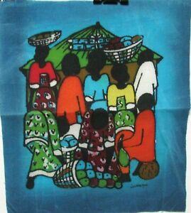 HENRY KASUJJA AFRICAN PEOPLE MARKET ORIGINAL BATIK PAINTING