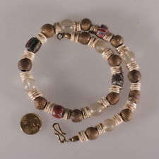 7331 Necklace Ancient Hebron 1820-1900 Glass Trade Beads Akan Bronze