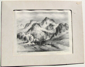 Charles B. Rogers Original Signed Lithograph – Mighty Mountains