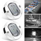 2x Round Marine Boat LED Courtesy Lights Cabin Deck Stern Navigation Light White