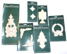 Hardwood Decorative Carving Applique Accents Embossed Lot of 6