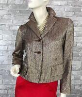 Dries Van Noten New Silver Blush Silk Jacket Coat 4 US 36 FR S Metallic Runway