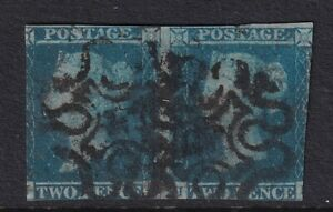 GB QUEEN VICTORIA SG 14F 2D BLUE PAIR NO 4 IN MALTESE CROSS - used