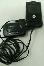 Motorola Cell Phone Flip Black No BOX AS IS For parts BR50 Car Charger Bundle