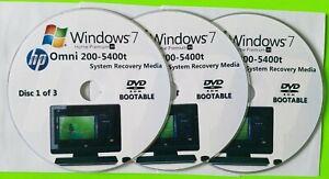 HP Omni 200-5400t Factory Recovery Media 3-Discs / Windows 7 Home 64-bit