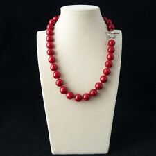 "8mm Coral Red Color South Sea Shell Pearl Round Gems Necklace 18"" AAA"